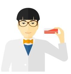 Pharmacist showing some medecine vector