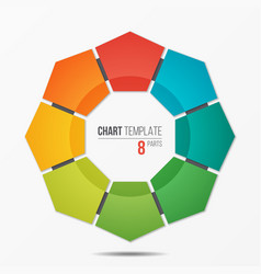 polygonal circle chart infographic template with 8 vector image vector image