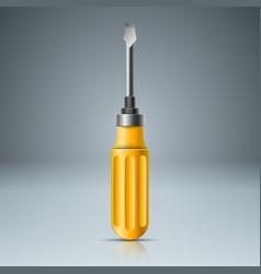Realistic screw yellow icon vector