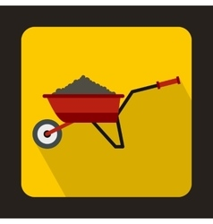Red wheelbarrow loaded with soil icon vector