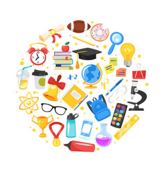 round composition of school symbols vector image