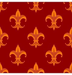 Seamless fleur de lys royal orange pattern vector