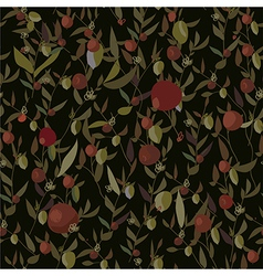 Seamless leaves and flowers pattern vector image vector image