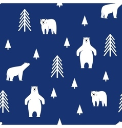 Seamless pattern polar bear on a blue background vector