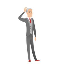 senior caucasian businessman scratching head vector image vector image