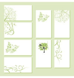 Set of business cards floral ornament vector