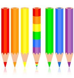 Set of colored pencil a rainbow pencil near vector