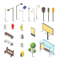 set of isometric city objects vector image