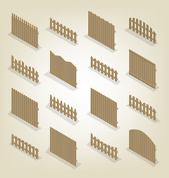 set of isometric spans wooden fences vector image