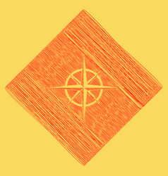 Wind rose sign red scribble icon obtained vector