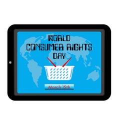 World consumer rights day theme shopping basket vector