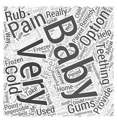 Teething babies and home remedies word cloud vector