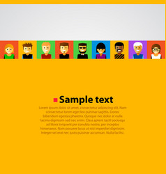 bright background with happy cartoon people vector image
