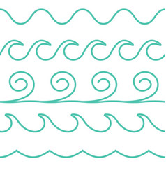 Turquoise line waves set on white vector