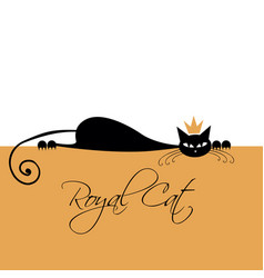 Royal black cat design vector