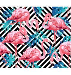 Flamingo bird and tropical flowers geometric vector