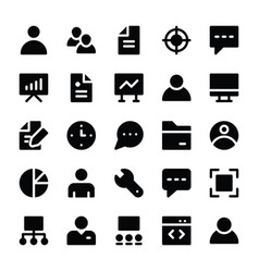 human resources glyphs icons 1 vector image