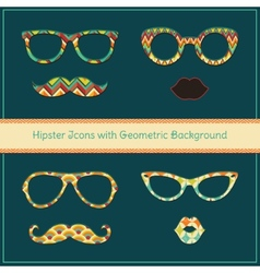 Hipster icons with geometric grunge background vector