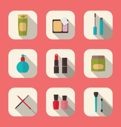set beauty and makeup icons with long shadow vector image