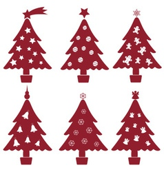 Christmas red and white tree decoration collection vector