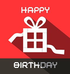 Happy birthday card with paper gift box vector