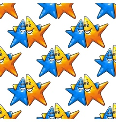 Cartoon hugging stars characters seamless pattern vector image