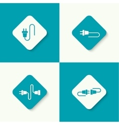 Set icons with wire plug and socket vector