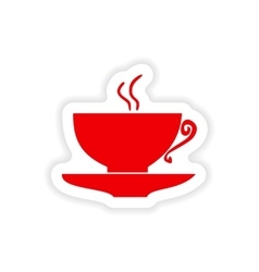 Icon sticker realistic design on paper cofee cup vector