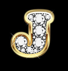 Letter j gold and diamond vector