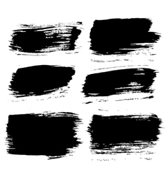 Black paintbrush backgrounds set vector