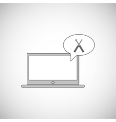 Technology design laptop  media icon vector