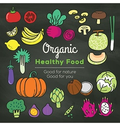 Organic food doodle on chalkboard background vector