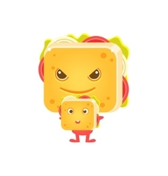 Sandwich character with his little copy vector