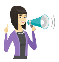 Asian business woman talking into loudspeaker vector
