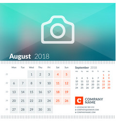 August 2018 calendar for 2018 year week starts on vector