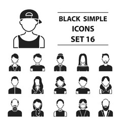 Avatar set icons in black style big collection vector