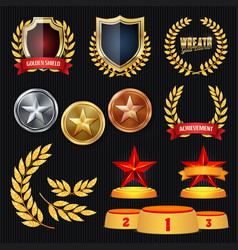 awards and trophies collection golden vector image