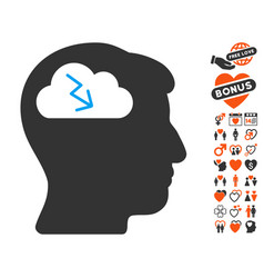 Brainstorming icon with love bonus vector