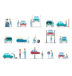 Car repair service cartoon icons collection vector