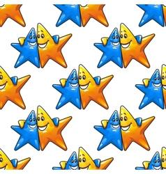 Cartoon hugging stars characters seamless pattern vector