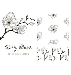 Cherry blossom design art brush and pattern vector