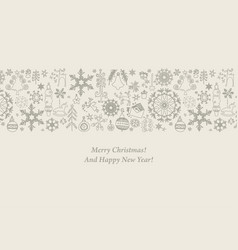 christmas flat element icons banner background vector image