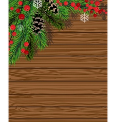 Christmas tree with red berries vector