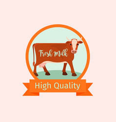 Cow orange label design vector