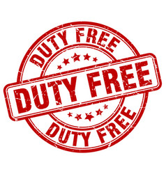 Duty free red grunge round vintage rubber stamp vector