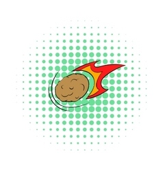 Falling meteor with long tail icon comics style vector