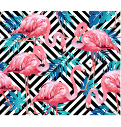 flamingo bird and tropical flowers geometric vector image