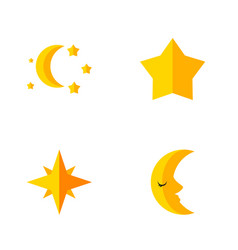 Flat icon bedtime set of moon asterisk bedtime vector