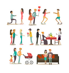 flat icons set of people in love vector image vector image