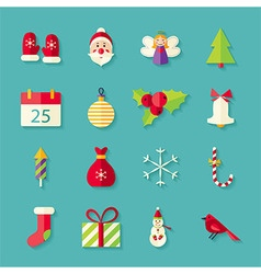 Flat winter merry christmas objects set with vector